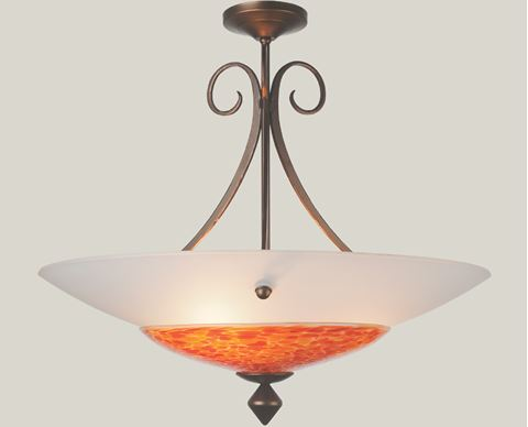 Plume II Blown Glass and Forged Iron Chandelier