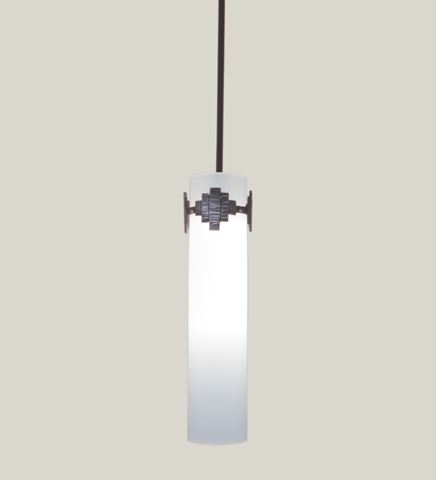 Quad Blown Glass and Forged Iron Pendant Light