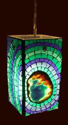 Pendant Light | Mosaic Glass | Agate Slice