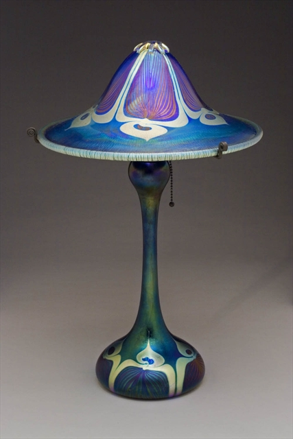 Picture of Large Blue Peacock Flared Shade Table Lamp