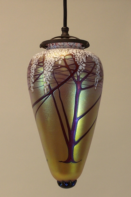 Picture of Pendant Light   Gold Cherry Blossom Amphora