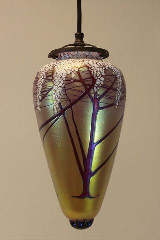 Pendant Light   Gold Cherry Blossom Amphora