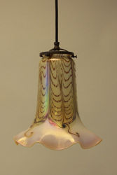 Double Feather Ruffled Trumpet Shade Pendant Light