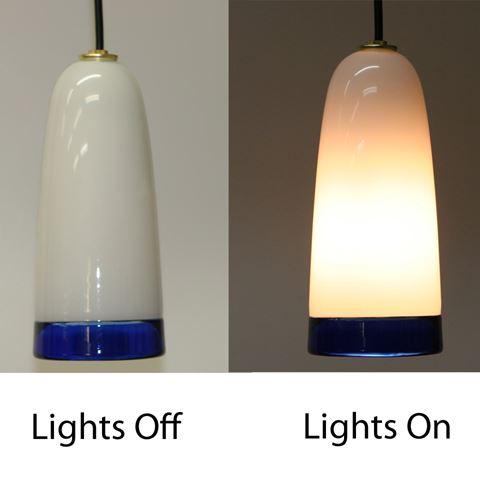 Blown Glass Pendant Light   White Cobalt