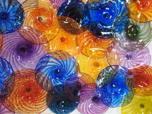 Picture of Colorful Blown Glass Wall Art Sculpture
