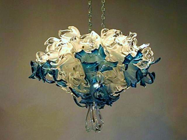 Picture of Crystal Blue Blown Glass Chandelier