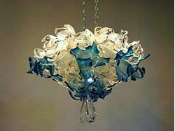 Crystal Blue Blown Glass Chandelier