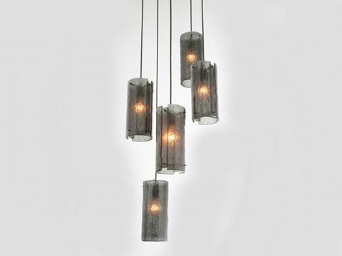 Textured Glass Round Multi-Port Pendant Chandelier 5 pc