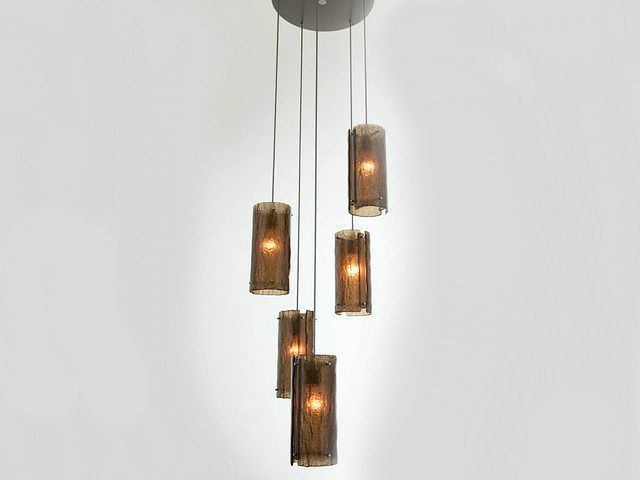 Picture of Textured Glass Round Multi-Port Pendant Chandelier 5 pc