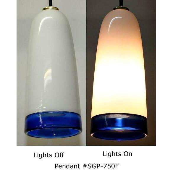 Picture of Blown Glass Pendant Light   White Cobalt