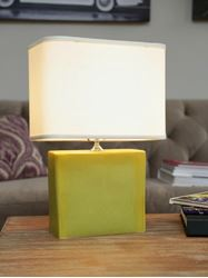Picture of Medium Rectangular Lamp with Green Ceramic Base by Alex Marshall Studios