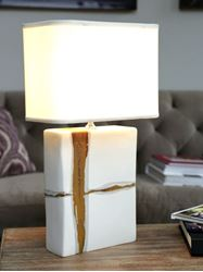 Large Rectangular Lamp with Sienna on Matte White Base by Alex Marshall Studios