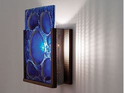 Picture of F/N 1 Half Moon Blue Fused Glass Wall Sconce