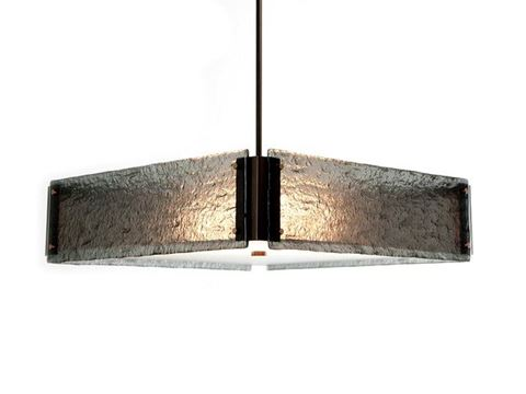 Textured Glass Square Chandelier