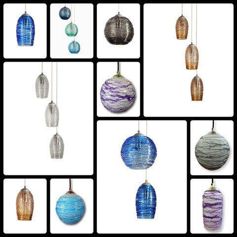 Spun Glass Pendant Light | Aqua I