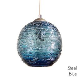 Spun Glass Pendant Light | Steel Blue