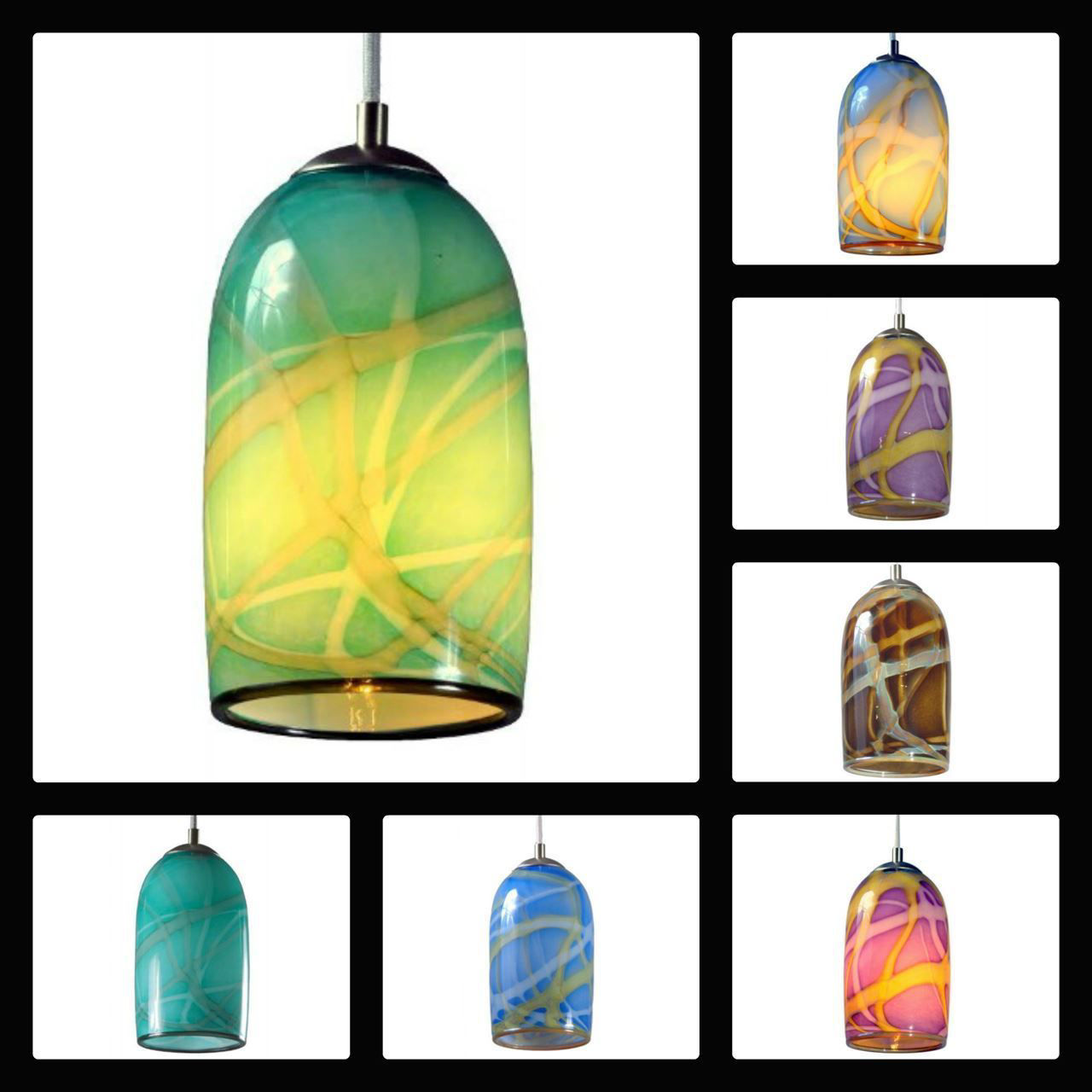 Picture of Blown Glass Pendant Light | Sky Blue