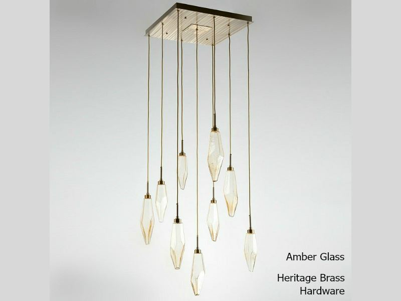 Picture of Rock Crystal Square Multi-Port Pendant Chandelier 9 pc