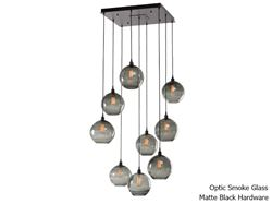 Terra Square Multi-Port Pendant Chandelier 9 pc