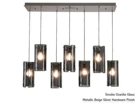 Linear Chandelier | Textured Glass | 7 pc