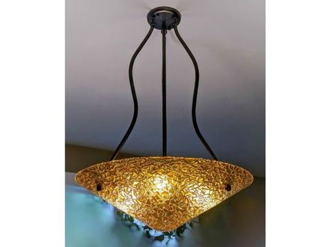 Golden Amber Fused Glass Chandelier - SALE