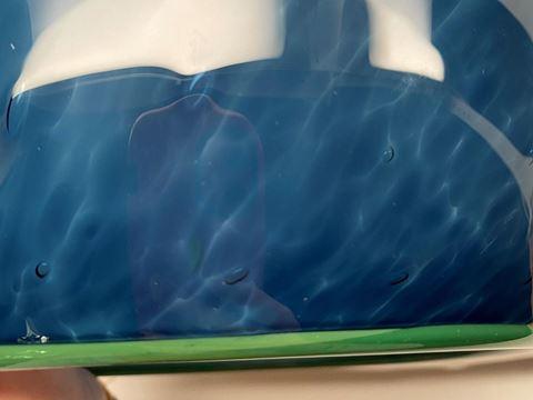 Blown Glass Pendant Light | Steel Blue Tiny Bubbles - Green Lip Wrap