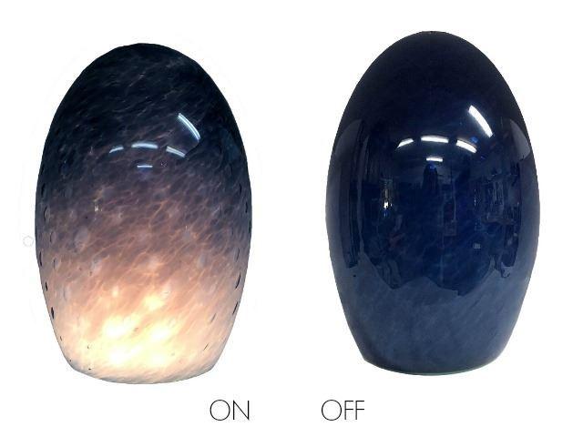 Picture of Blown Glass Pendant Light | Steel Blue Tiny Bubbles - Green Lip Wrap