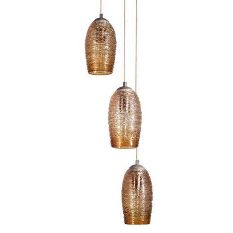 Spun Glass Cocoon Cluster Pendant Chandelier 3 Pc