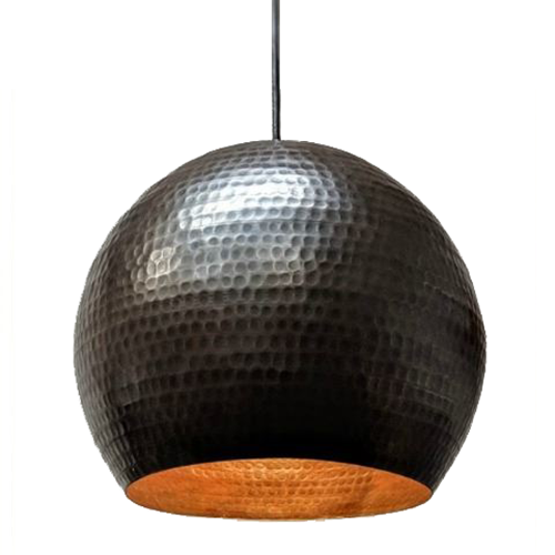 SoLuna Copper Globe Pendant in Dark Smoke Finish